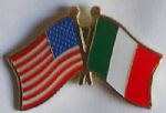USA and Italy Friendship Flag Pin Badge